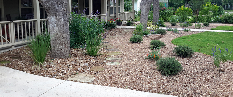 Downtown New Braunfels, completed custom landscaped yard.